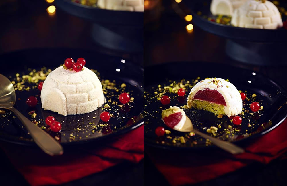 White chocolate igloo at PF Chang's Asian Table