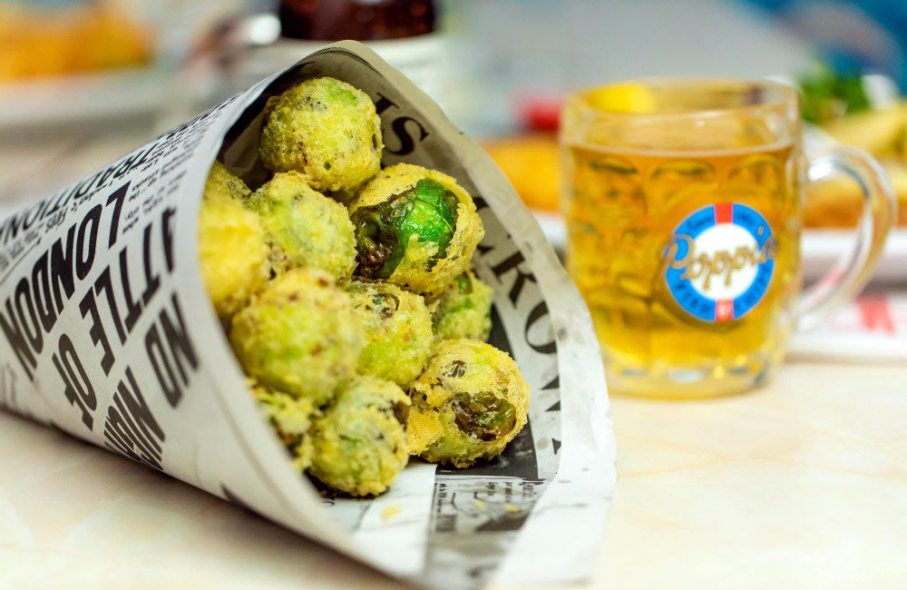 Deep-fried sprouts at Poppies
